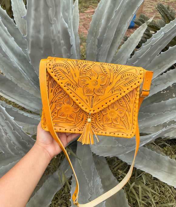 Vallarta Leather Tooled Crossbody