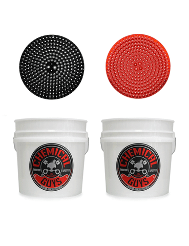 Chemical Guys 2 Bucket Wash Kit - Heavy Duty Detailing Bucket with Cyclone Dirt Traps