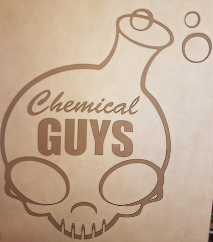 "Chemical Guys 6"" White Decal Sticker with Chrome Edges"