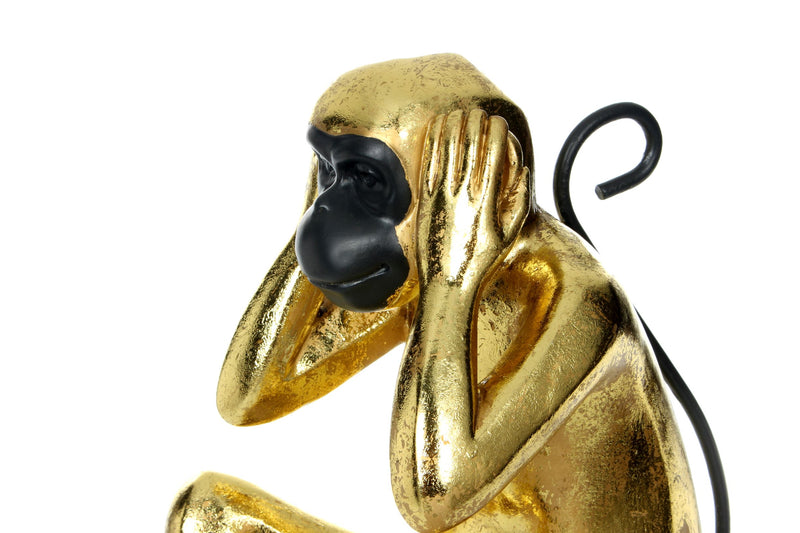 Skulptur Sitting Monkey 210 Gold / Schwarz