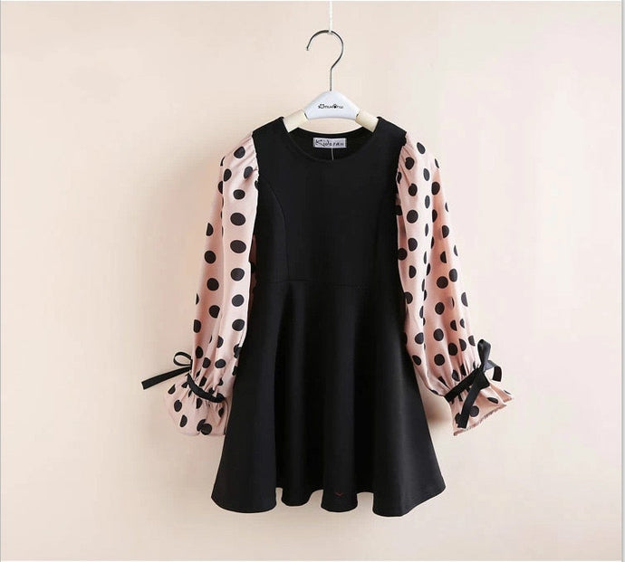 Polka dot A-line dress (6-12)