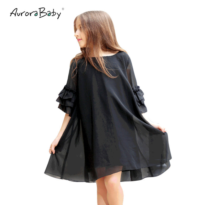 Chiffon dress with ruffled sleeves  (6-15)