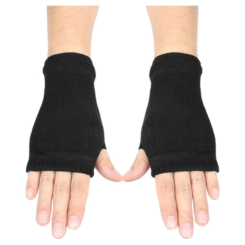 Black Elastic Combed cotton Fingerless Gloves