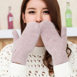 Pure Color Rabbit Fur Mittens