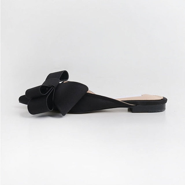 Silk satin Pointed bow tie slippers