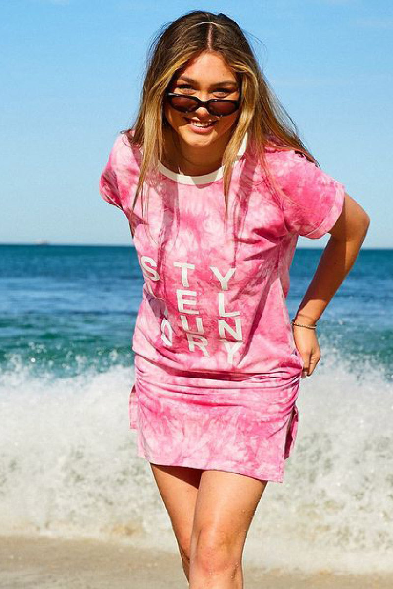 Tie Dye Beach Dress Pink
