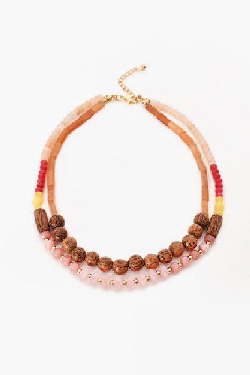 Layered Timber Bead Mix Necklace (Multi)
