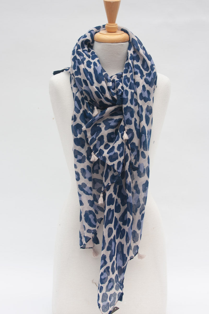 Leopaed Scarf Blue