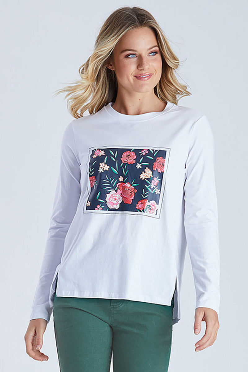 Threadz Framed Floral Print Tee
