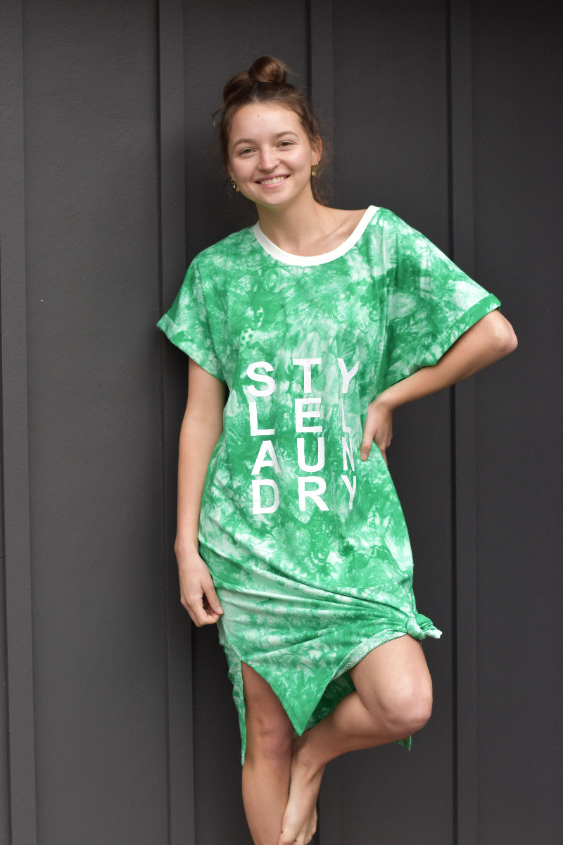 Tie Dye Beach Dress Emerald