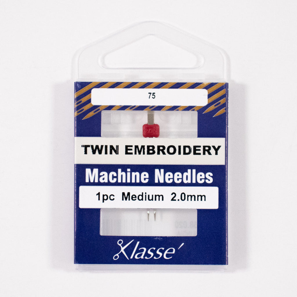 Twin Embroidery Needle 2.0mm wide, Size 75/11, Pkg.1