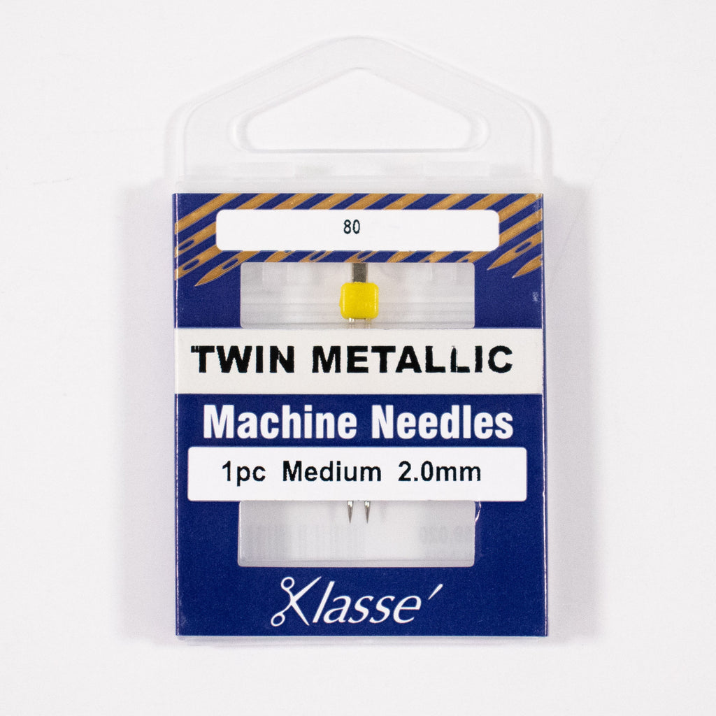 Twin Metallic Needle 2.0mm wide, Size 80/12, Pkg.1