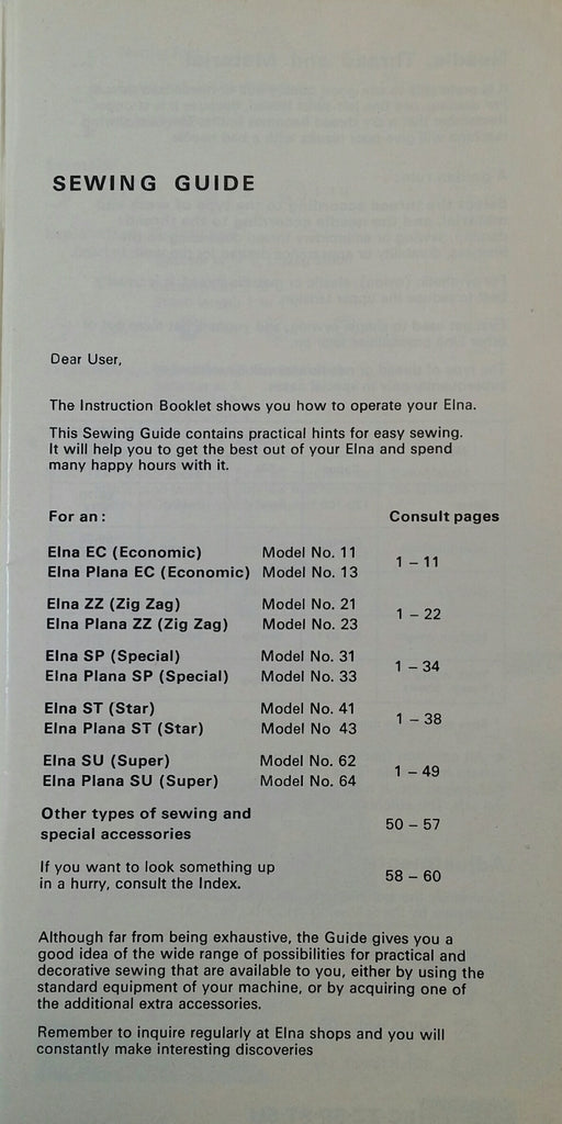 Elna 11, 13, 21, 23, 31, 33, 41, 43, 62, 64 Instruction Book