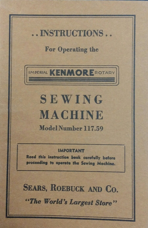 Kenmore Model 117.59 Instruction Book