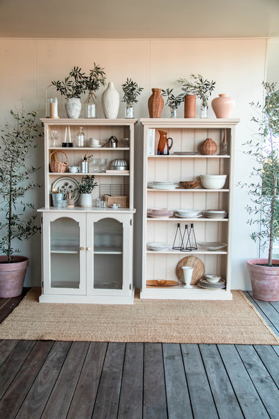 Before and After DIY Upcycled Bookshelf and Hutch