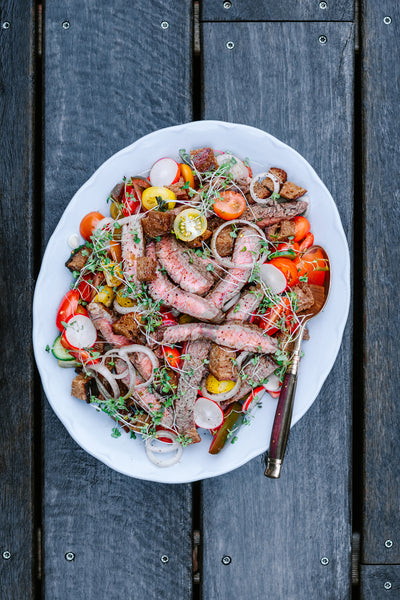 Grilled Steak with Tomato Salad and Sourdough Croutons