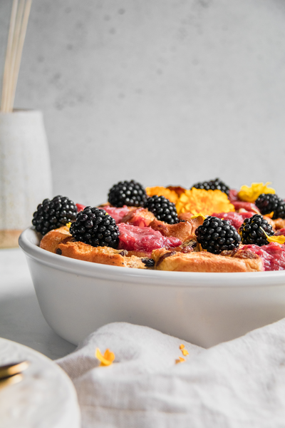 Hot-Cross-Bun-Butter-Pudding-Rhubarb-Compote-Blackberries-by-Jaharn-Quinn-from-Smor-Kitchen