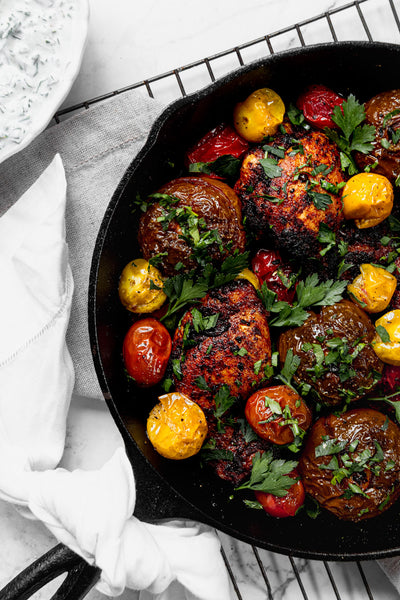 Moroccan Chicken With Skillet Roasted Heirloom Tomatoes by Jaharn Quinn from Smor Kitchen