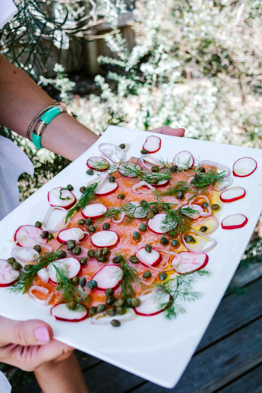 Smor-Kitchen-Christmas-Feast-Citrus-Cured-Smoked-Salmon-Fennel-Leaves-Capers-Radish-Recipe