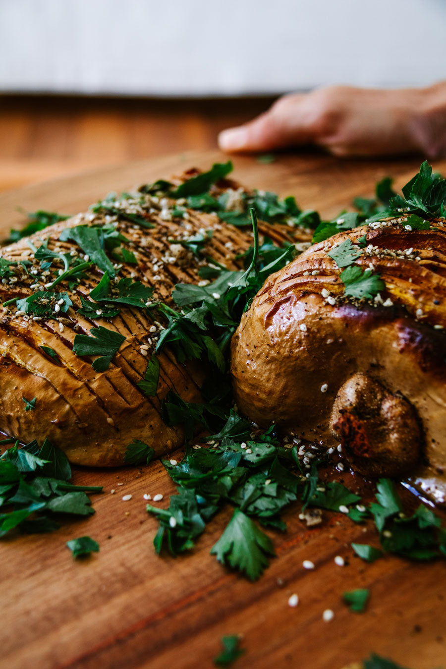 Smor-Kitchen-Recipe-Holiday-Feast-Maple-and-Macadamia-Hasselback-Roasted-Pumpkin-Bush-Dukkah