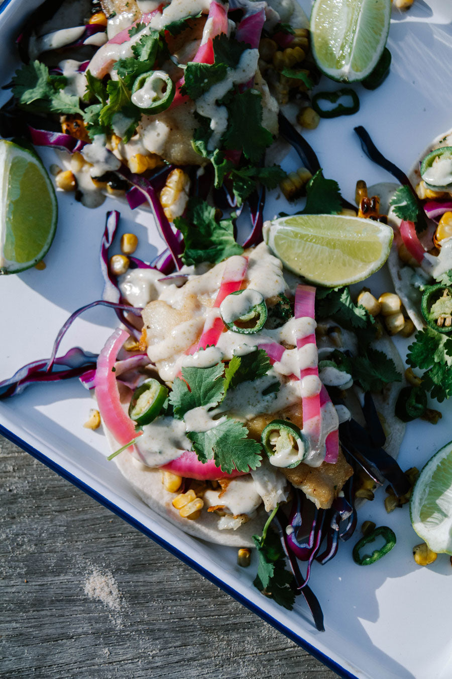Smor Kitchen Fish Tacos with Quick Pickled Onions