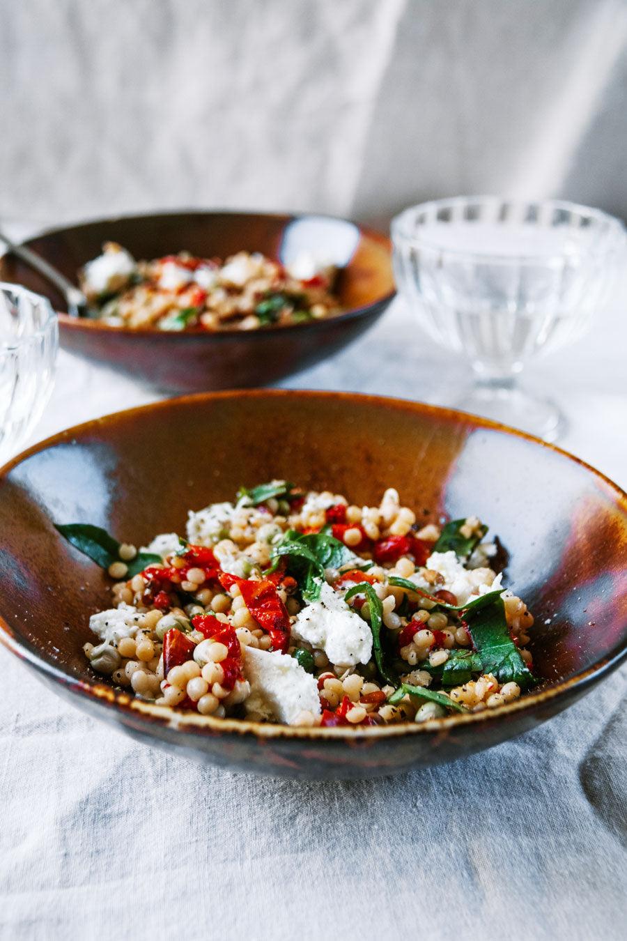 Smor-Kitchen-Pearl-Couscous-with-Oven-Roasted-Capsicum-and-Goat-Cheese-Recipe