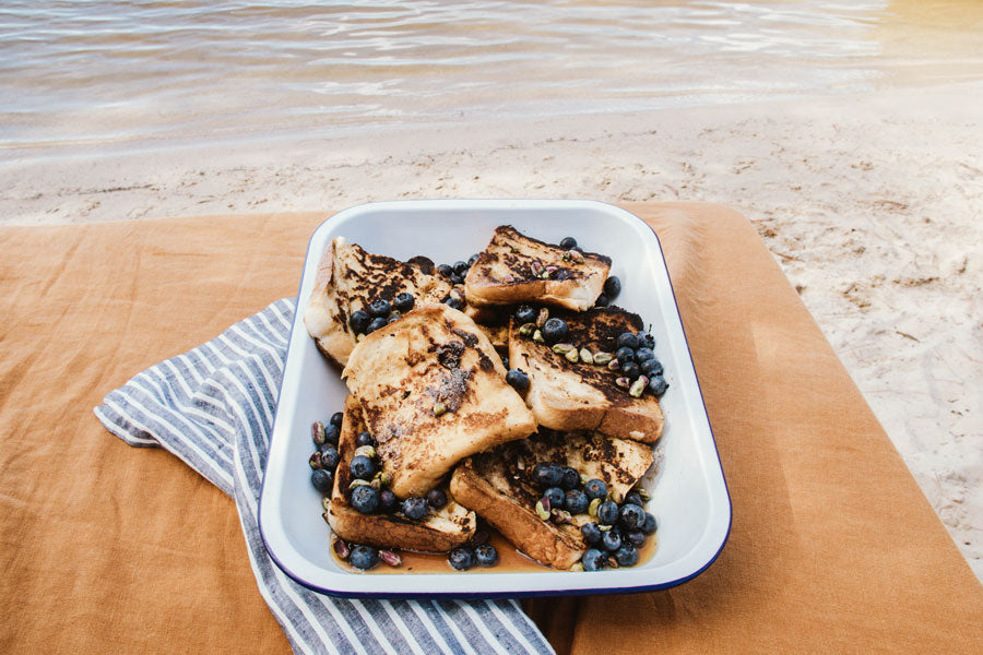 Smor Store French Toast With Blueberries And Pistachios Recipe