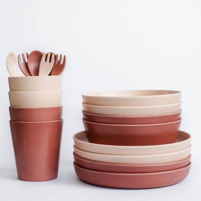 Kids Bamboo Dinnerware Picnic Set - Dusty and Clay