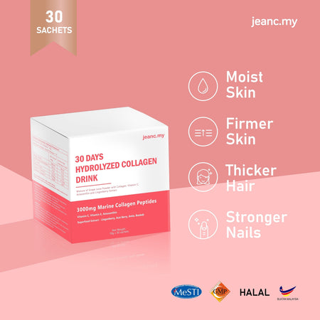 [Preorder 15 Jun] JEANC 30 Days Hydrolyzed Collagen Drink + Astaxanthin
