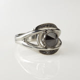 Large Carved Eye Ring with Black Diamonds