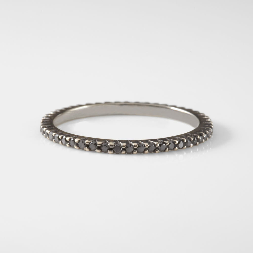 Unique Black Diamond Mini Eternity Stacking Band