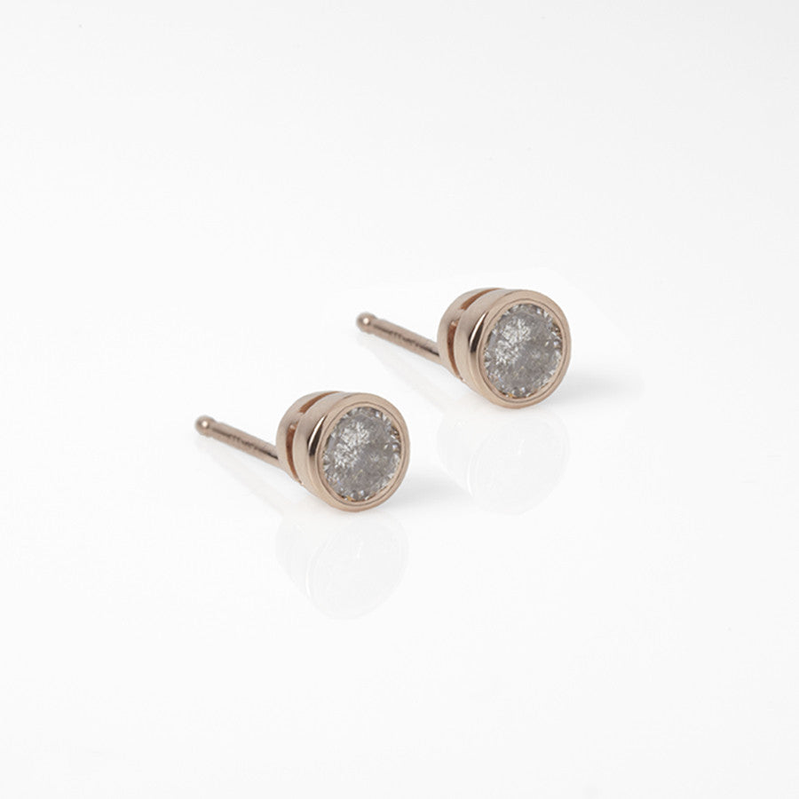 grey diamond earrings, grey diamond stud, grey diamond spike, rose gold, gray, diamond