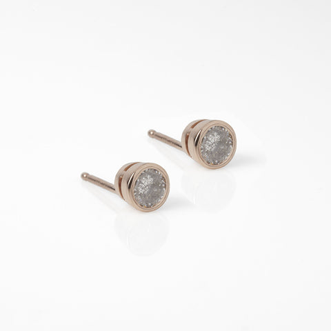 Rose Gold and Grey Diamond Deco Spike Earring