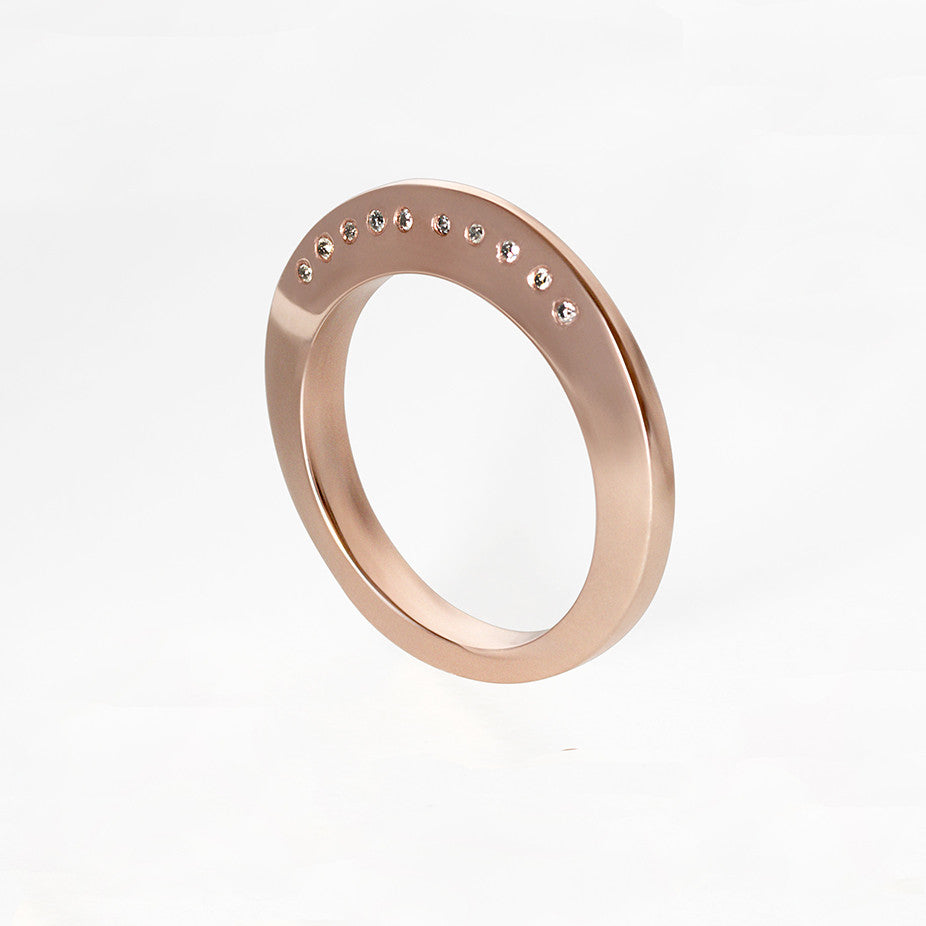 Rose Gold and 10 Grey Diamonds Dome Ring