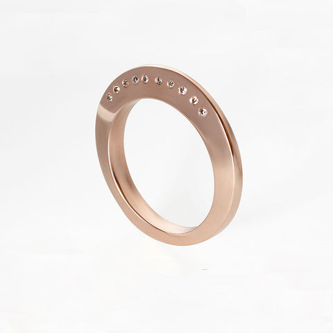 Rose Gold Carved Teeth Ring with Tahitian Pearl