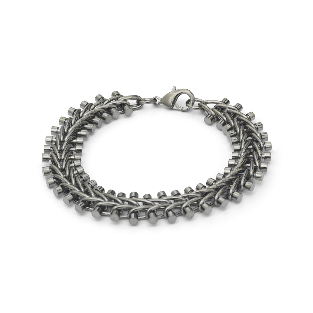 Black Platinum Plated Tribal Vertebrae Bracelet