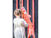 Koinobori Röd 70cm japansk fiskflagga / Madame Mo Frankrike (鯉幟 / Traditionell japansk vindstrut/socka)