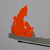 Vindsnurra Ø28cm i Rostfritt stål, med två Oranga plexiglaskatter - Made in Germany - Sun Dancer KATZEN orange