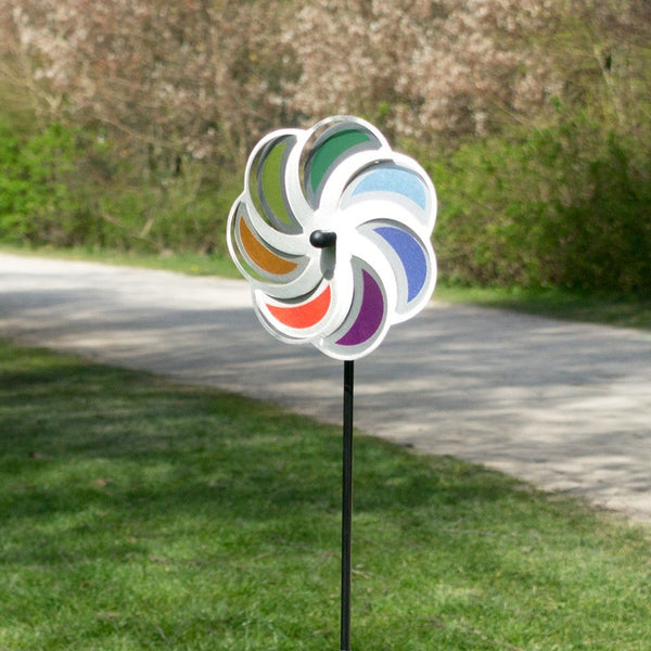 Vindsnurra Månblomma Ø20cm i Rostfritt stål - Made in Germany / Windrat Monde / Wind Wheel