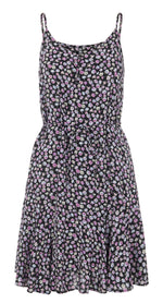 PCNYA - Slip button dress (Sort/blomster)