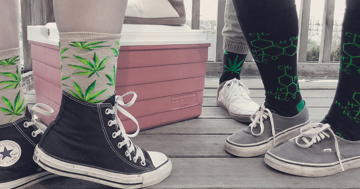 Pot leaf and THC molecule-patterned socks for 420 smokers.