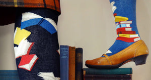 Book socks with colorful stacks of books