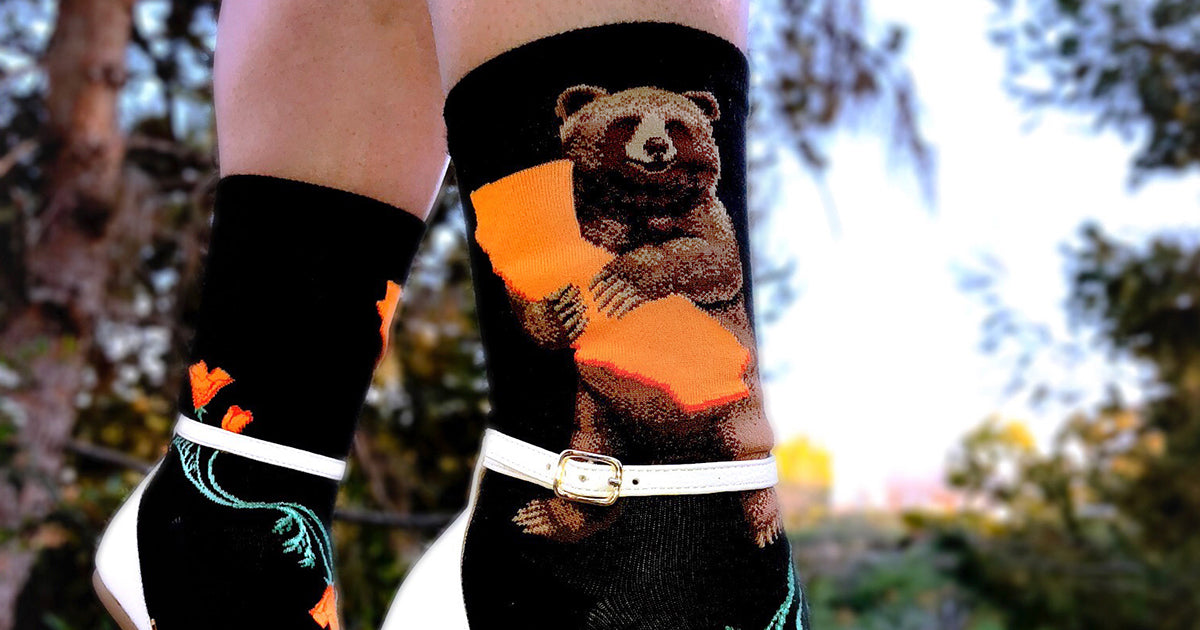 California Bear Hug Socks with a grizzly hugging the state of CA by ModSocks