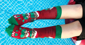 It is Christmas in July, so swim and sloth around in these Christmas sloth socks!