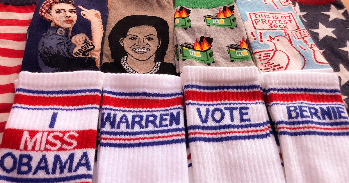 2020 election campaign socks with candidates and political designs.