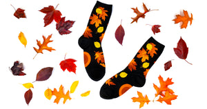 Colorful fall leaves socks, surrounded by colorful fallen leaves.