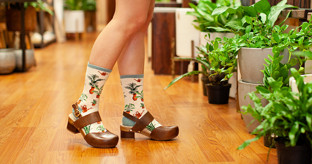 Socks with houseplants next to real potted plants