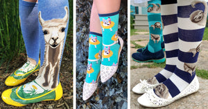 Socks with flat shoes three ways — llama knee socks with yellow ballet flats, teal dog crew socks with D'Orsay sandal flats and sloth knee socks with white flats and blue suede shoes.
