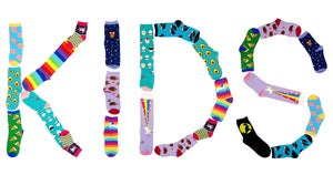 Socks for kids spell out the word KIDS