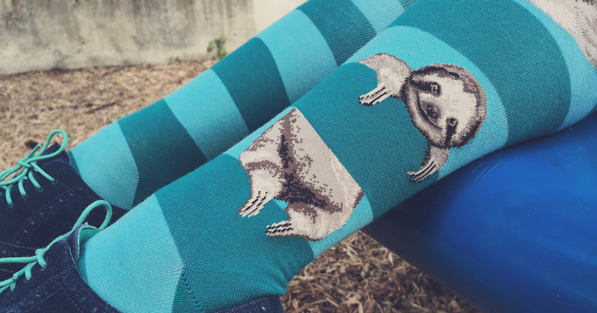 Sloth knee-high socks for women with cute sloths hanging on teal stripes.